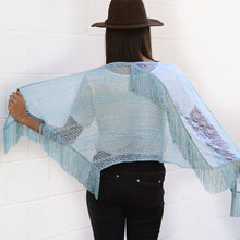 Load image into Gallery viewer, Raven Blue Lace Trapezoid Scarf With Tassel