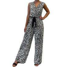 Load image into Gallery viewer, Cap Sleeve Snow Leopard V-Neck Jumpsuit