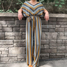Load image into Gallery viewer, S/S Flutter Sleeve Chevron Jumpsuit