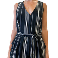 Load image into Gallery viewer, S/L Deep V-Neck Stripe Jumpsuit