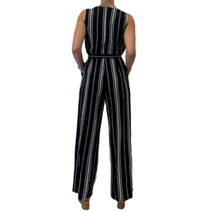 S/L Deep V-Neck Stripe Jumpsuit