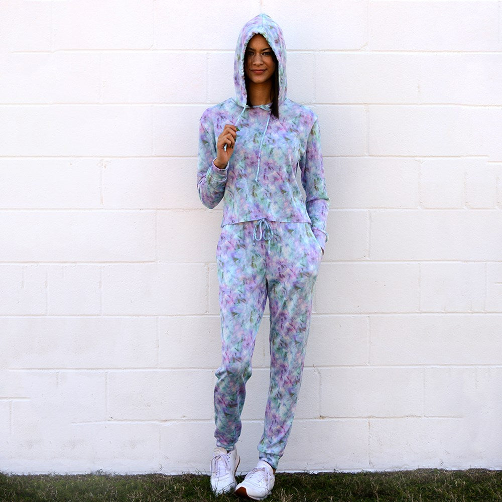 Retro Tie Dye Super Soft Fleece Hoodie/Pant Set (bundle)