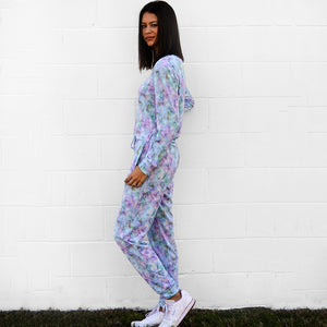 Retro Tie Dye Super Soft Fleece Crew Neck Top/Pant Set