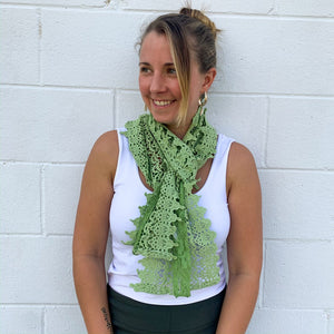 Cara Green Lace Oblong Scarf