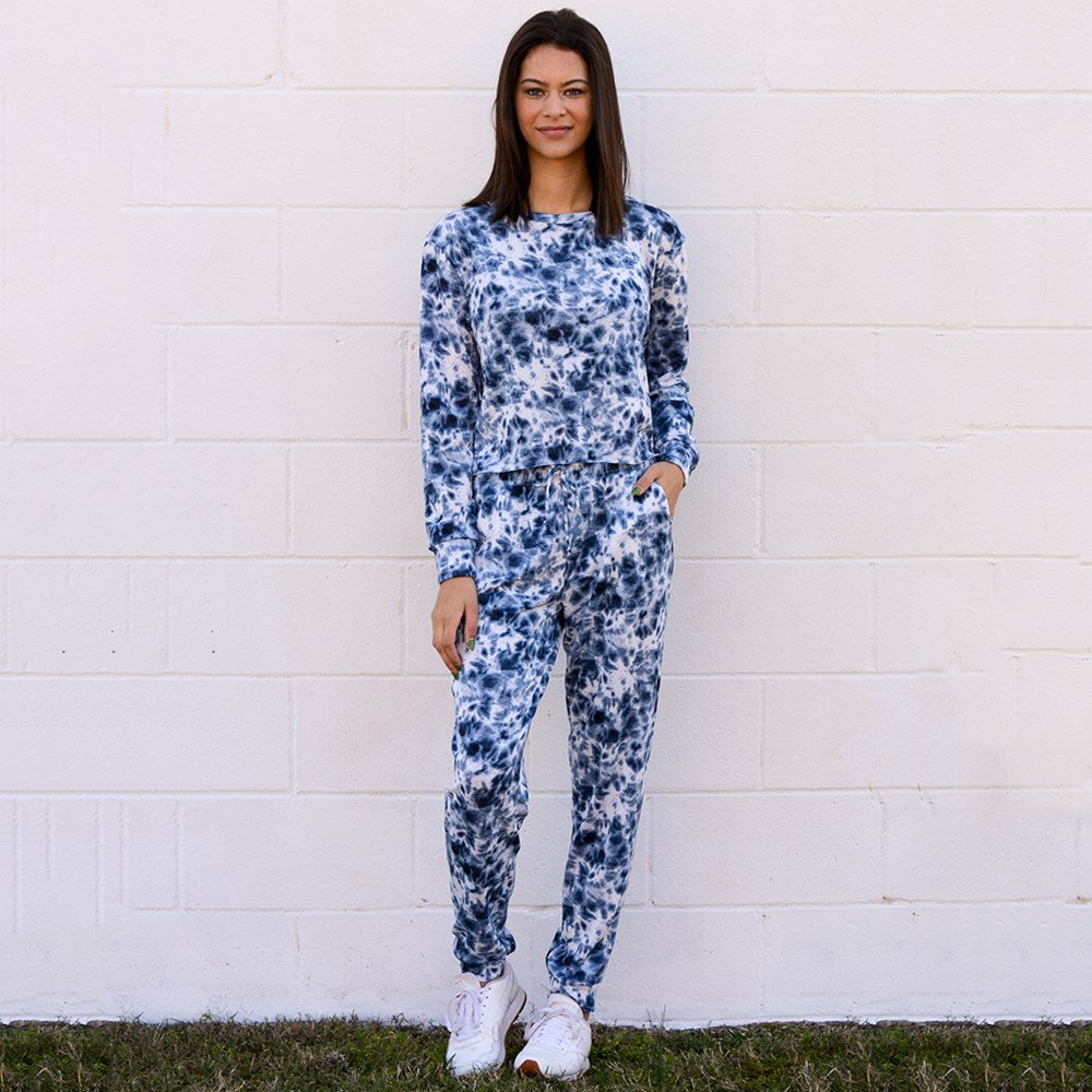 Navy Tie Dye Super Soft Fleece Crew Neck Top/Pant Set (bundle)