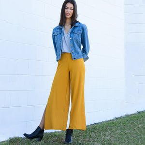 Ribbed Knit Wide Leg Pant w/ Side Slit (bundle)