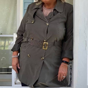 Olive Double Button Trench Coat