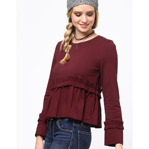 L/S Scoop Neck Baby Doll Ruffle Top  (bundle)