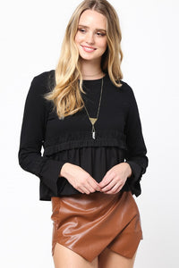 L/S Scoop Neck Baby Doll Ruffle Top