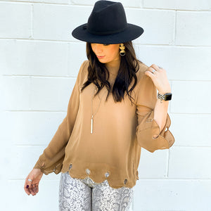 L/S Scalloped Edge Tie-Back Blouse (bundle)