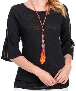 3/4 Slit Sleeve w/Necklace Black