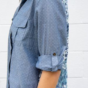 Roll-Up Tab Sleeve Button Down