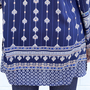 L/S Navy Split Neck Rayon Border Print Top (bundle)