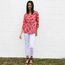 Load image into Gallery viewer, 3/4 Sleeve V-Neck Blocked Knit Top