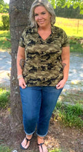 Load image into Gallery viewer, Olive Camo Polo Curvy