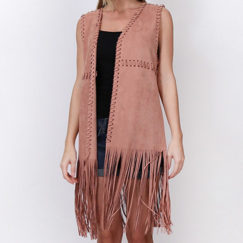 Faux Suede Vest Whipped Dusty Pink