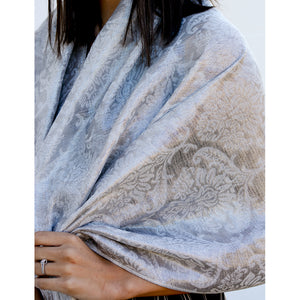 Ivory Metallic Filigree Scarf