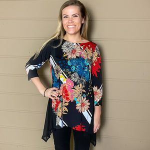 3/4 Sleeve Floral Sharkbite Knit Top Curvy