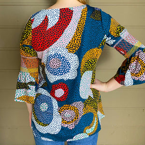 3/4 Bell Sleeve Top w/ Smocking Detail