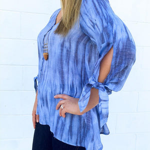 L/S V-Neck Navy Tie Dye Tunic  (bundle)