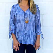 Load image into Gallery viewer, L/S V-Neck Navy Tie Dye Tunic  (bundle)