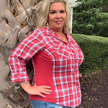Load image into Gallery viewer, L/S Yarn Dye Twill Plaid Shirt w/ Knit Rib Inserts - Curvy