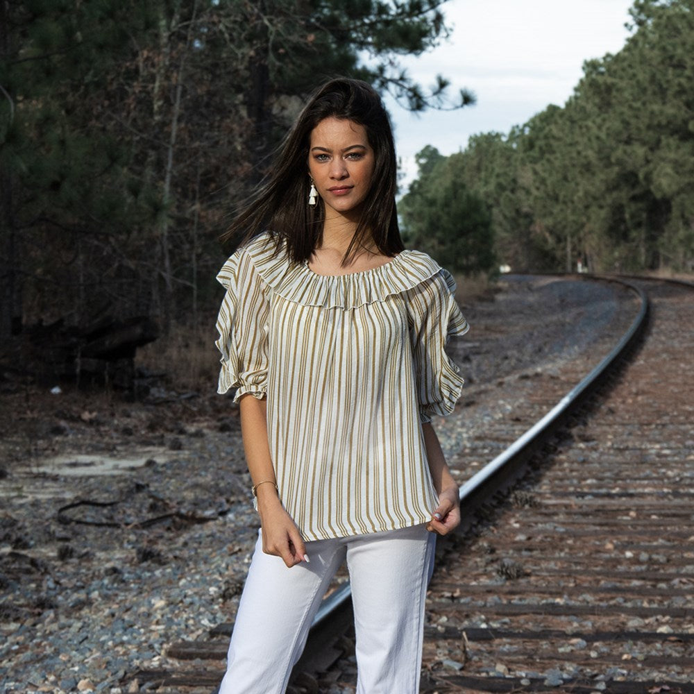 3/4 Ruffle Sleeve Slub Stripe Top (bundle)