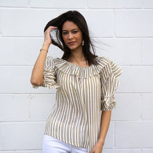 Load image into Gallery viewer, 3/4 Ruffle Sleeve Slub Stripe Top