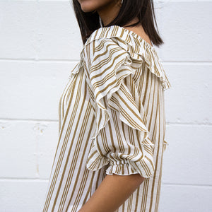 3/4 Ruffle Sleeve Slub Stripe Top