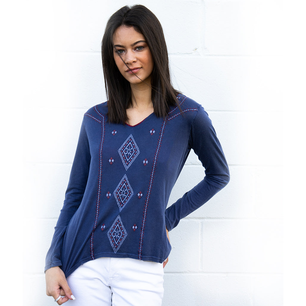 Navy Modal V-Neck L/S Shirt