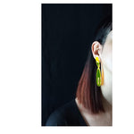 Charger l'image dans la galerie, Amadea post & drop earrings Neon Red
