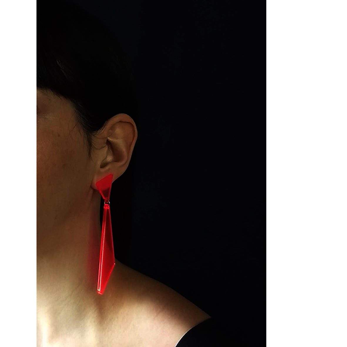 Arkansas post & drop earrings Neon Red