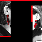 Load image into Gallery viewer, Audrey post & drop earrings Red