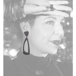 Load image into Gallery viewer, Sandy post & drop earrings Black