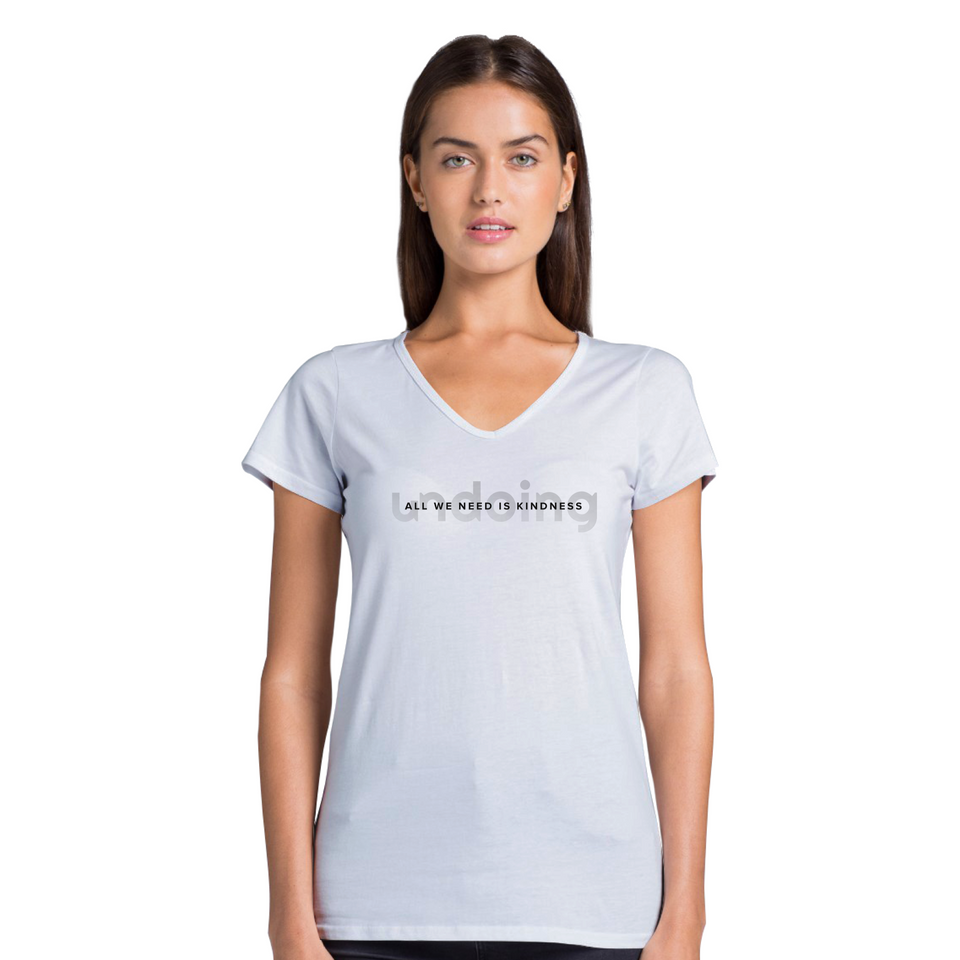 Model wearing All We Need Is Kindness Gradient Fade - Women's Casual V-Neck T-Shirt White Tee by Undoing
