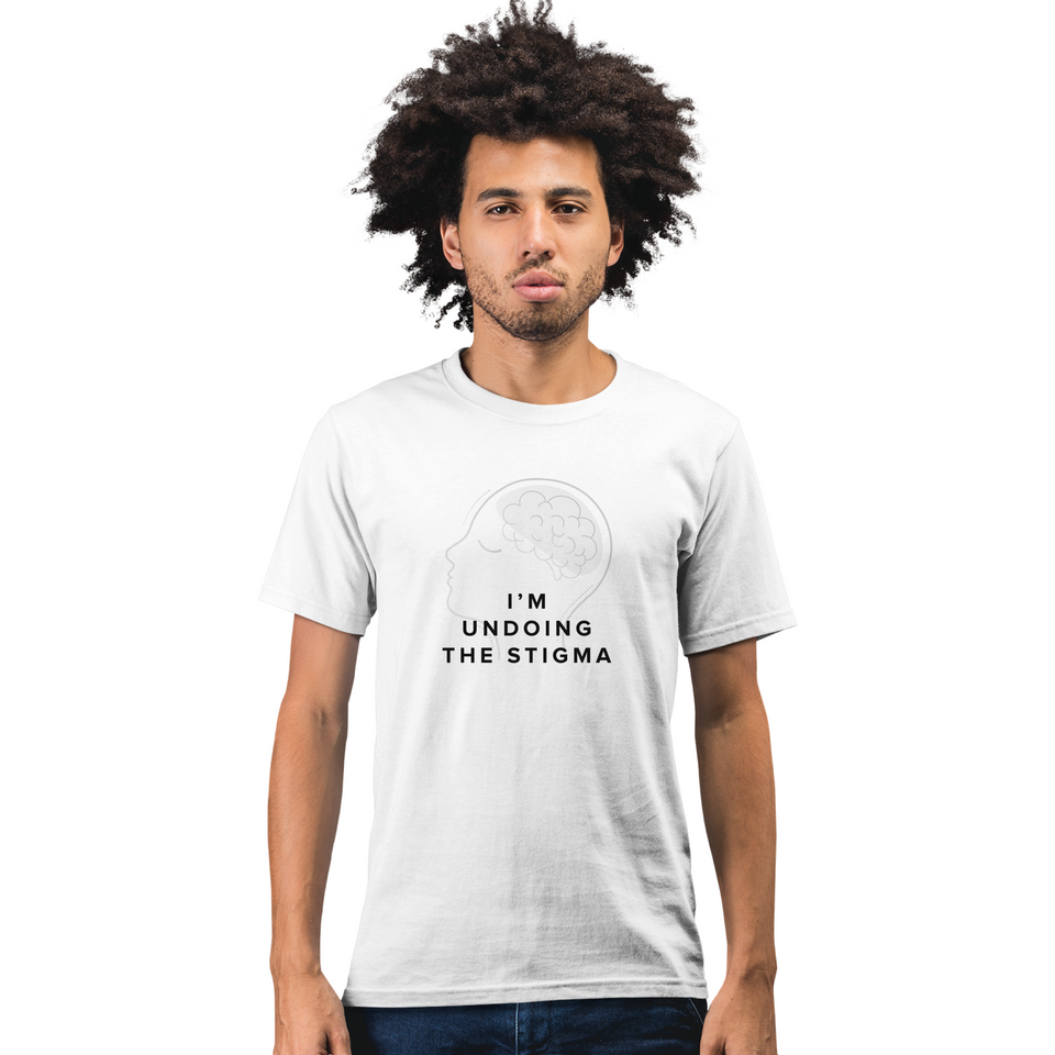 I'm Undoing the Stigma Self Care - Unisex T-shirt mental health awareness shirt worn by a male model
