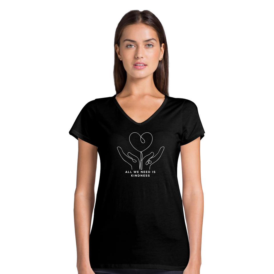 All We Need Is Kindness Doodle - Women's Casual V-Neck T-Shirt