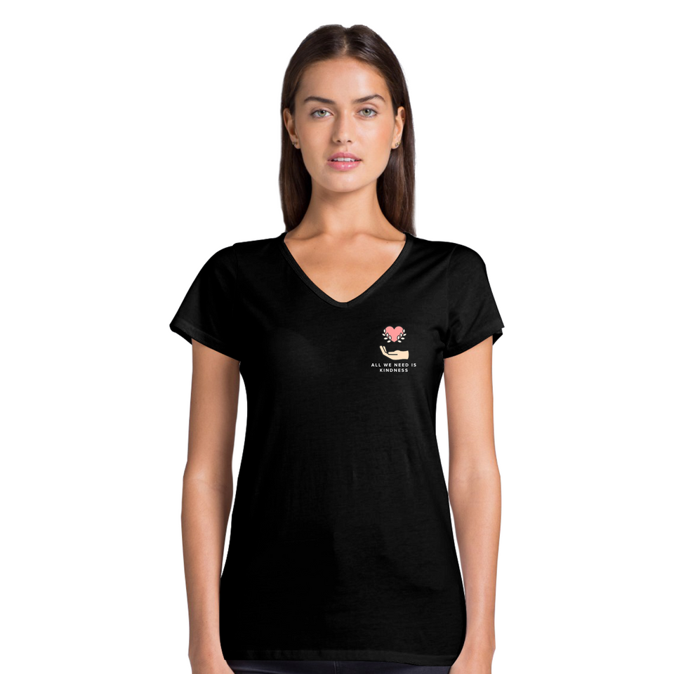 All We Need Is Kindness Pocket Tee - Women's Casual V-Neck T-Shirt Black Tee by Undoing