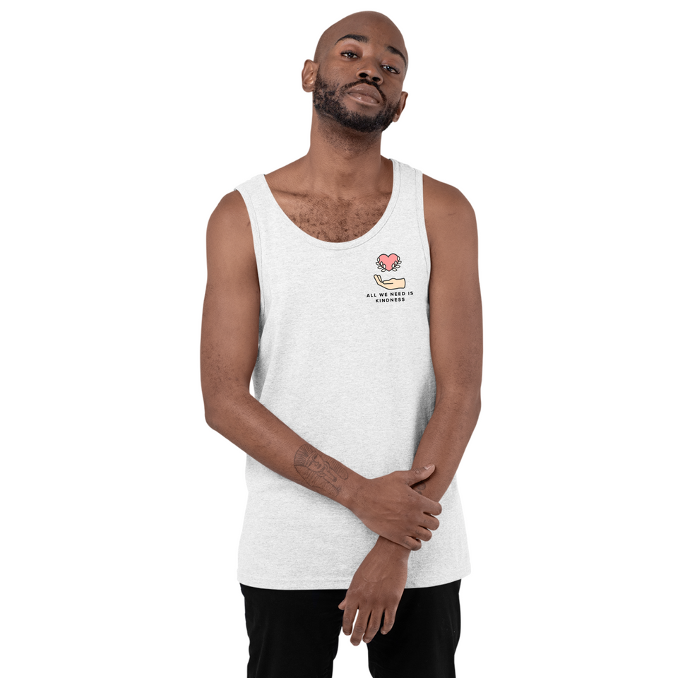 Man wearing All We Need is Kindness Pocket - Unisex Tank Top white mental health awareness tank top by Undoing