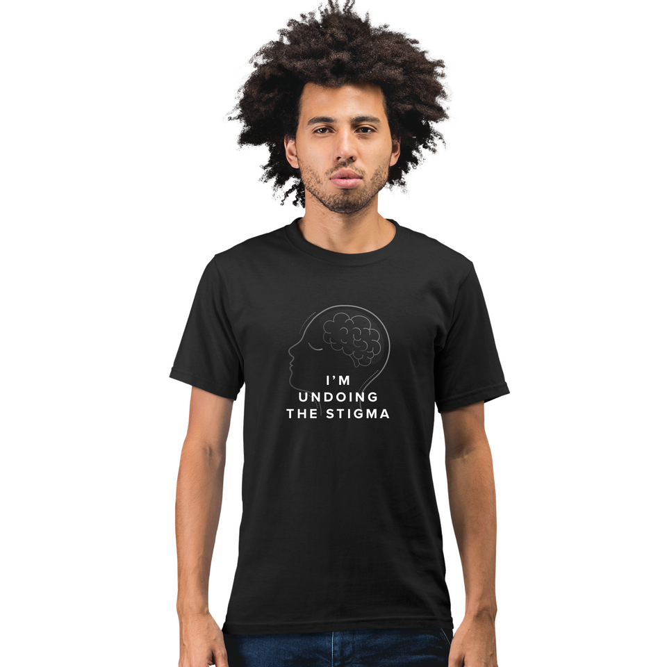 I'm Undoing the Stigma Self Care - Black Undoing unisex tee worn by a male model