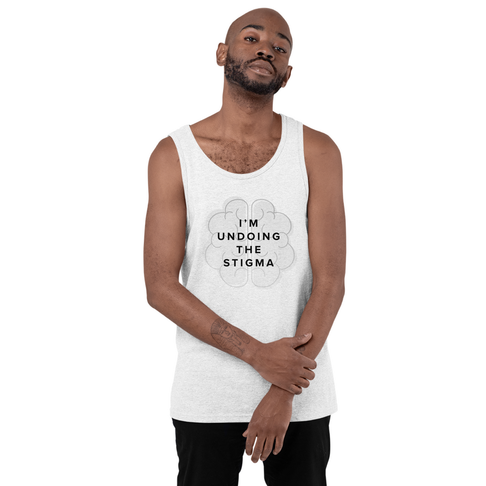 Man wearing I'm Undoing the Stigma Mental Health Ribbon - Unisex Tank Top white mental health awareness tank top by Undoing