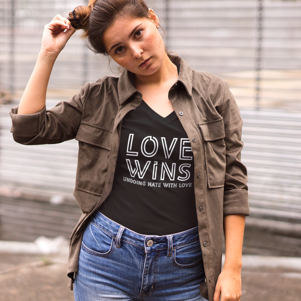Love Wins Tee Version 3 - Women's Casual V-Neck Shirt