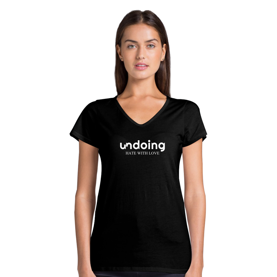 Undoing Statement Tee Solid Version 1 - Women's Casual V-Neck Shirt
