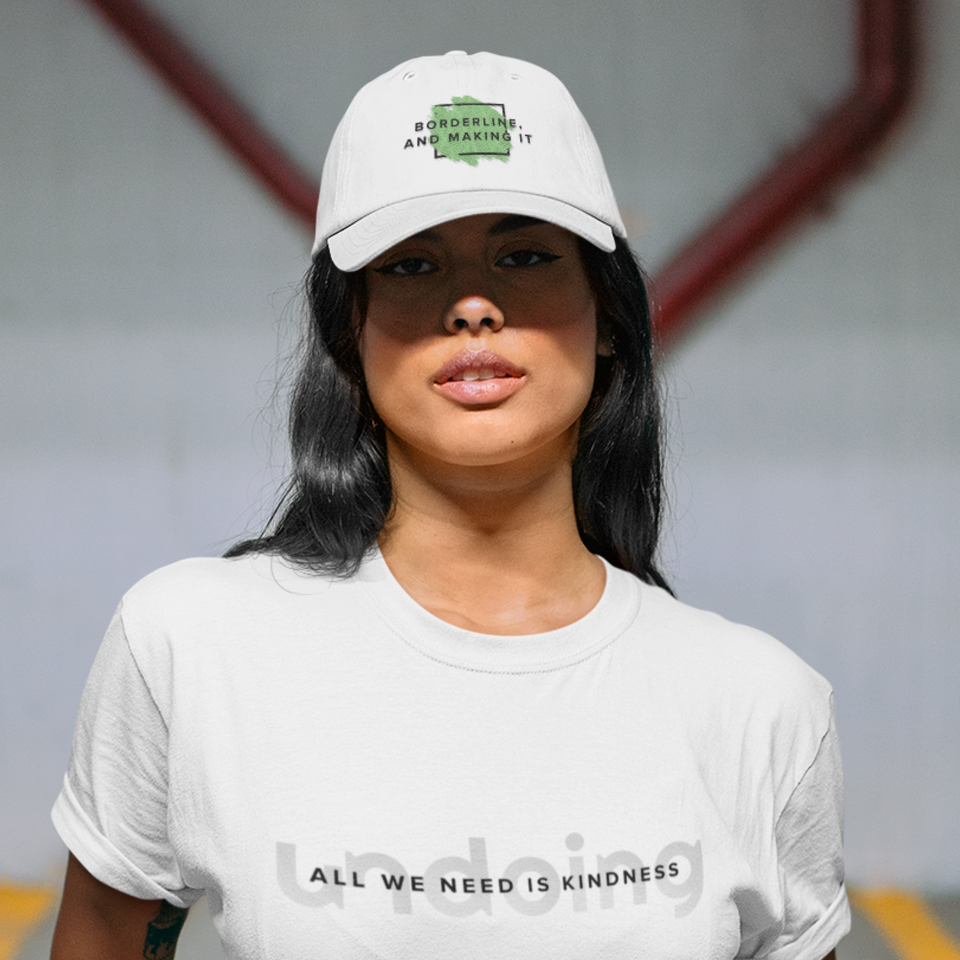 Undoing's Borderline, and making it Baseball Cap white mental health awareness hat worn by a female model