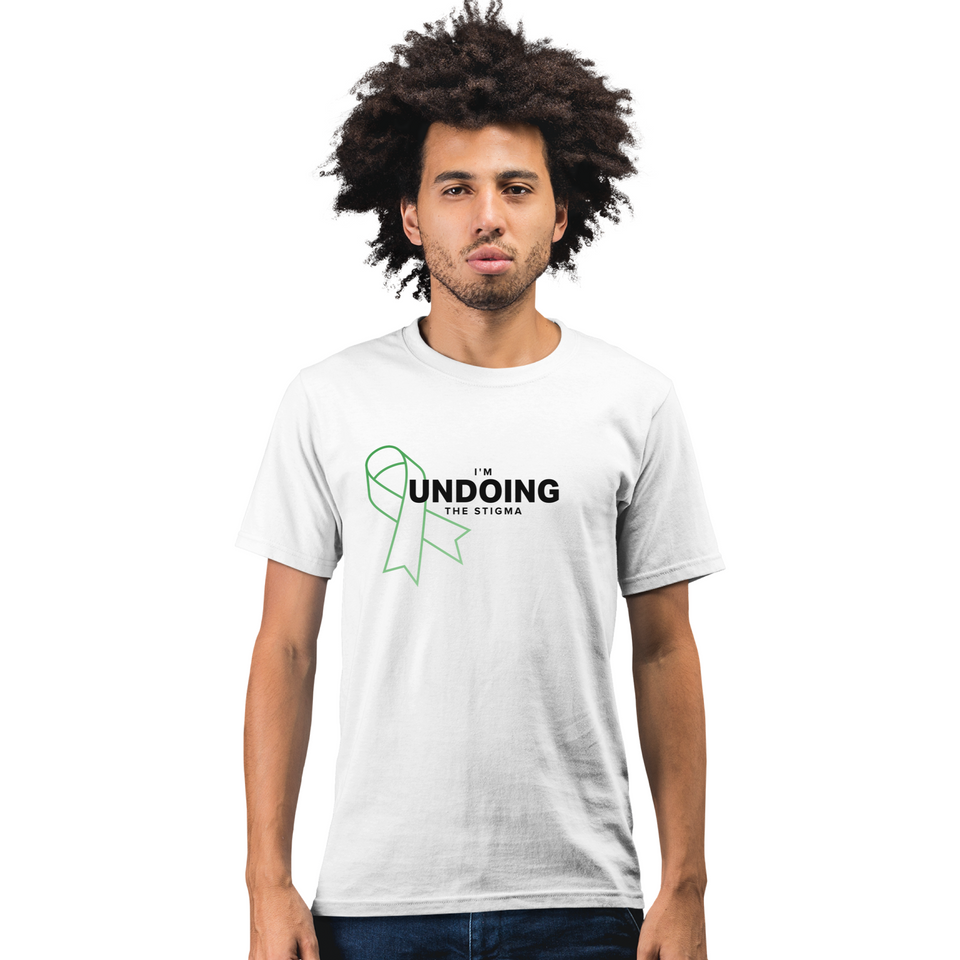 I'm Undoing the Stigma Mental Health Symbol - Unisex T-shirt white mental health awareness tee worn by a male model