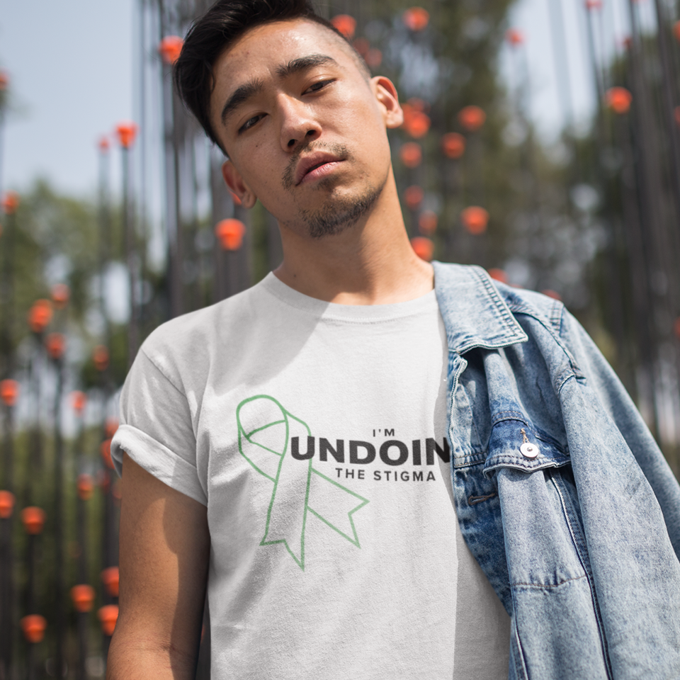 I'm Undoing the Stigma Mental Health Symbol - Unisex T-shirt mental health awareness tee white worn by a male model