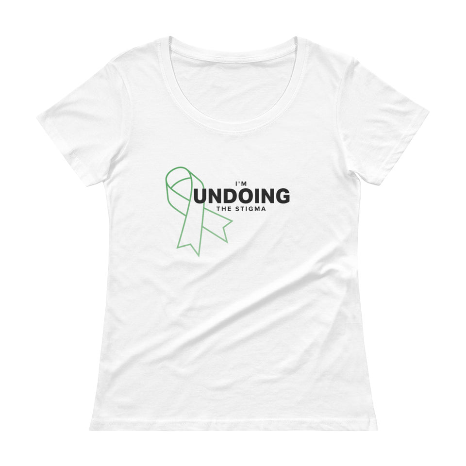 I'm Undoing The Stigma Mental Health Symbol - Ladies' Scoop Neck T-Shirt white mental health awareness t-shirt by Undoing
