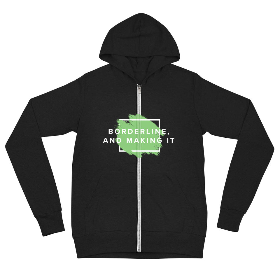 Borderline, and making it Unisex zip hoodie mental health awareness apparel by Undoing