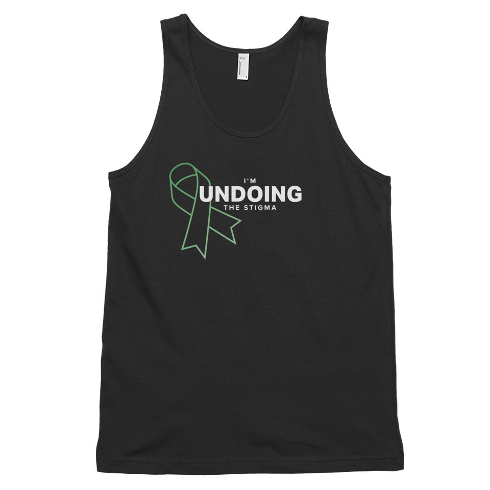 I'm Undoing the Stigma Mental Health Symbol - Unisex Tank Top  black mental health awareness tank top by Undoing