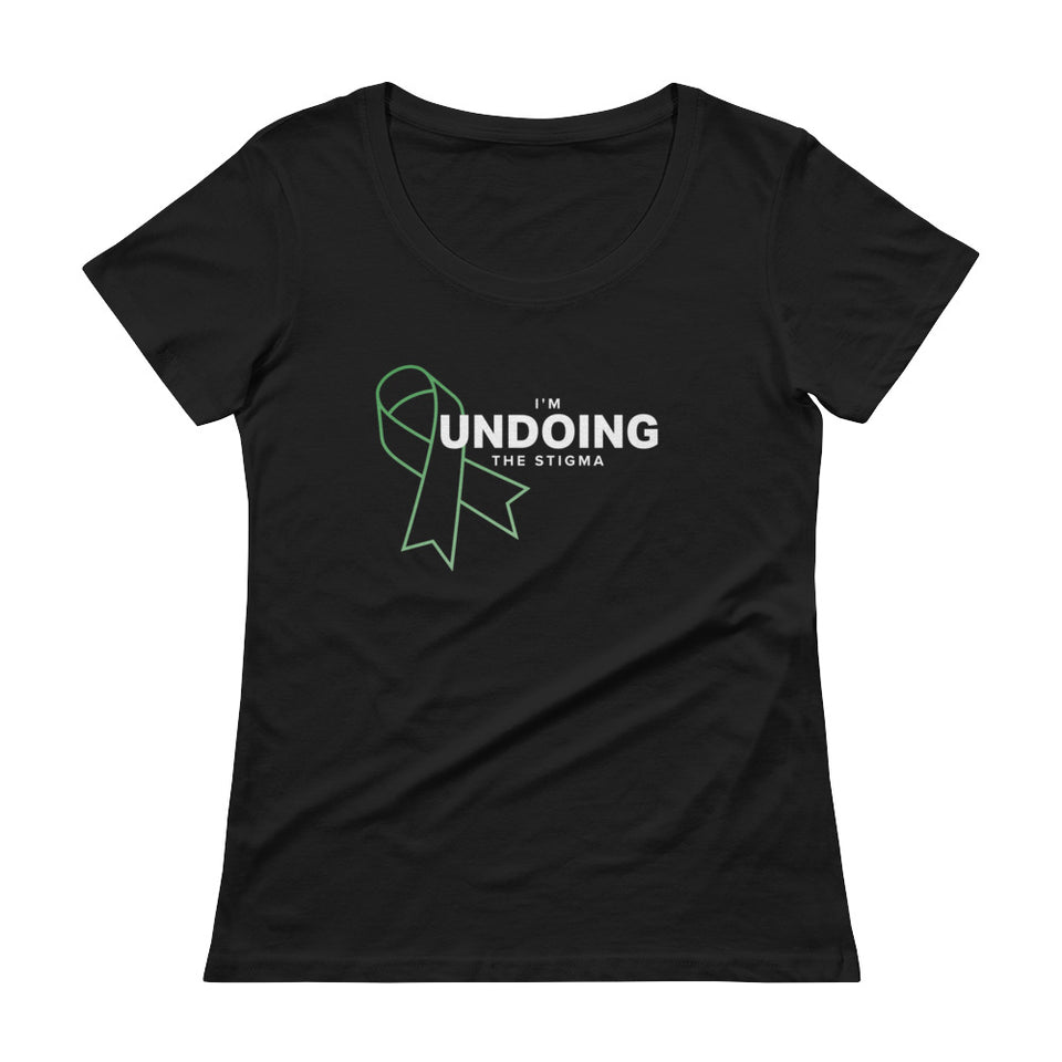 I'm Undoing The Stigma Mental Health Symbol - Black Ladies' Scoop Neck T-Shirt